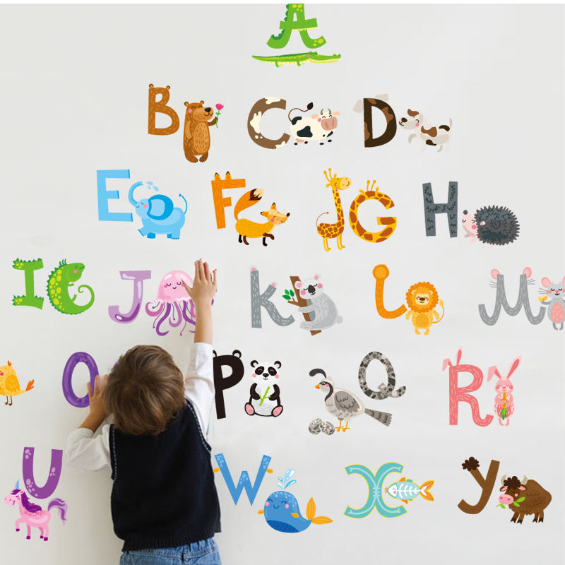 YIYAO ABC Alphabet Animal Alphabet Wall Decals Classroom Wall Letters Stickers