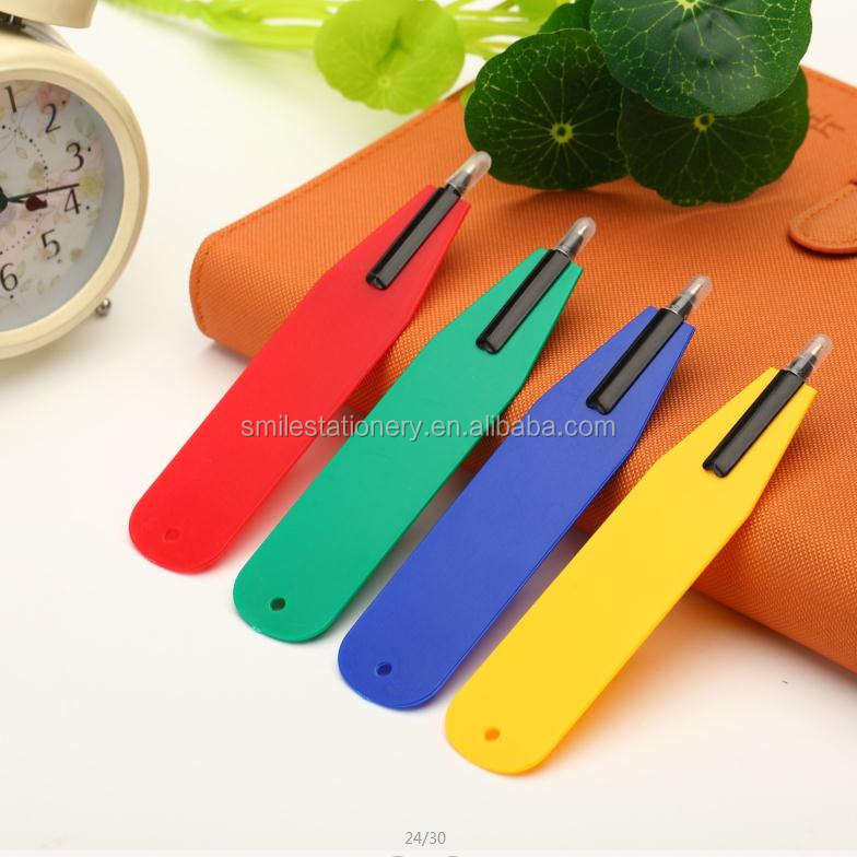 Plastic flat bookmark ball pen wide area for logo ballpoint pen