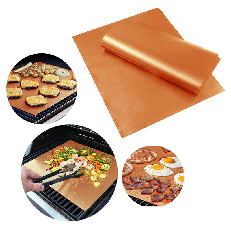China Manufacturer FDA Approved PFOA Free Reusable BBQ grilling mat oven tray liner
