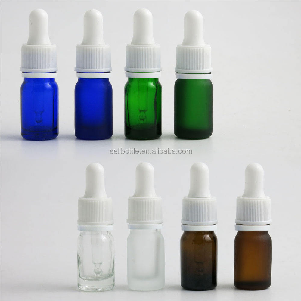 Small Dropper Clear Amber Green Blue Frosted Essential Oil Cosmetic Glass Bottle In Stock 5ML