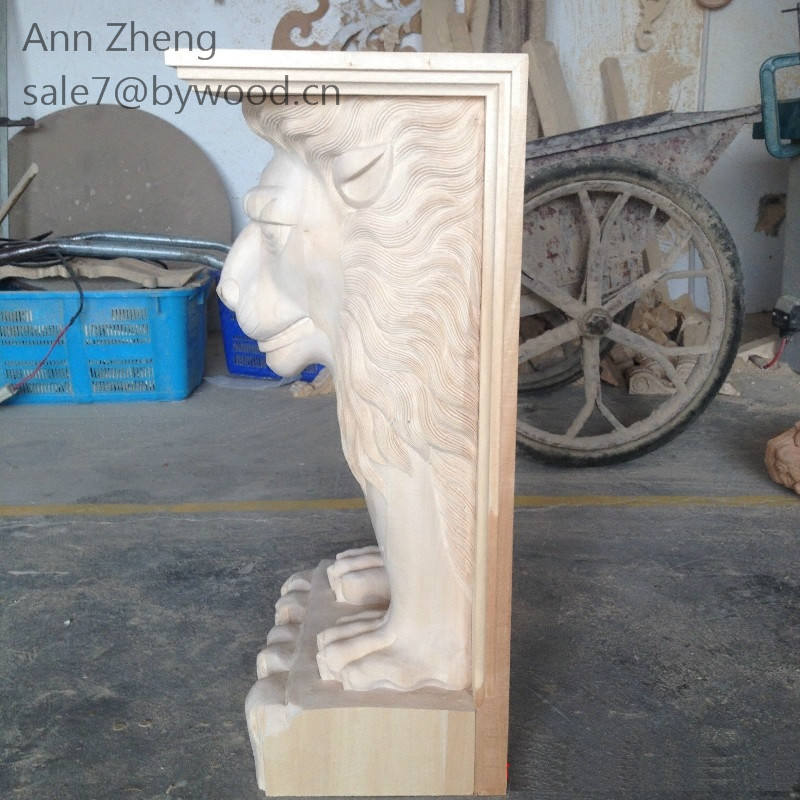 solid wooden carvins animal wood corbel lion wood column