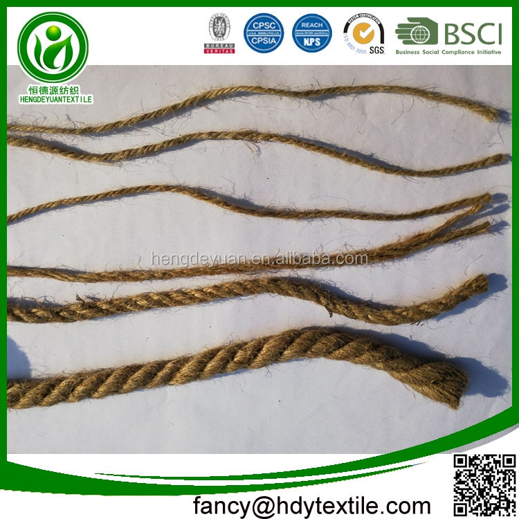 Wholesale jute factory twisted 4mm waxed jute twine rope for shopping bag handle
