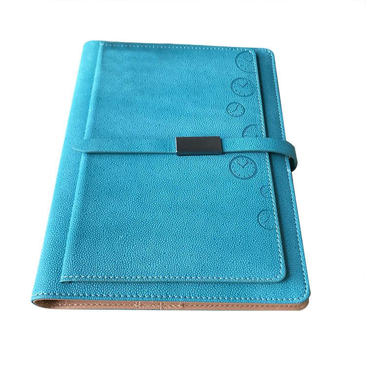 Luxury A5 pocket loose leaf ring binder pu leather notebook with folder