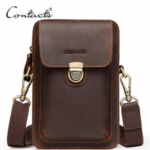 dropshipping contact's genuine leather men crossbody bag cell phone purse smartphone wallet