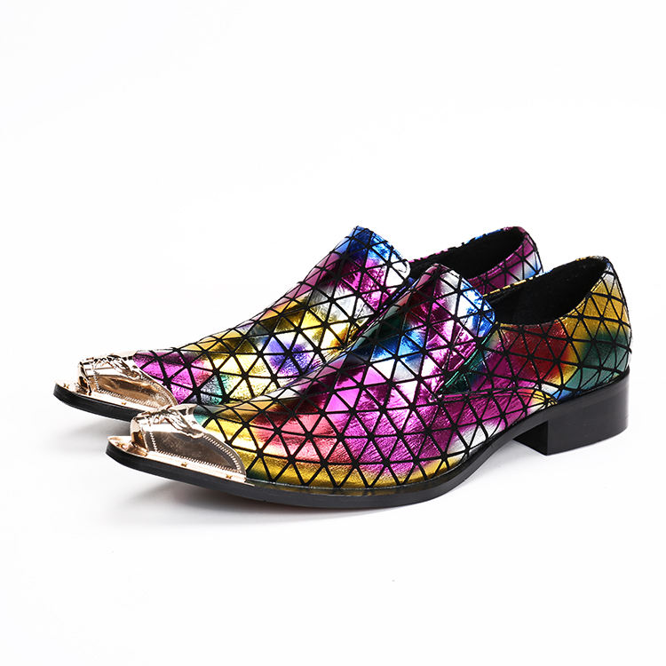 Personality trend T stage fashion show men's shoes,party shiny colorful leather shoes