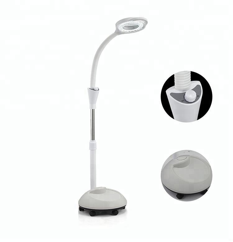 Floor Stand Magnifying Glass For Beauty Salon Facial Skin Checking Led Lamp