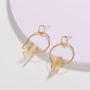 Gold Four Leaf Clover Charm With Freshwater Pearl Dangle Circle Hoop Earrings For Women