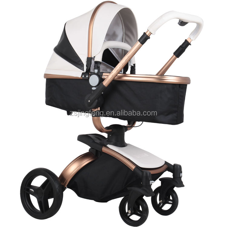 2020 Hot Baby Stroller 3 in 1,High Quality Leather Material Travel System Stroller 3 in 1 With 360 Swivel Seat