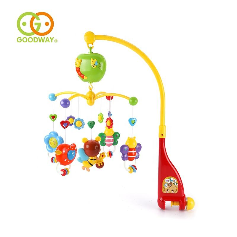infant bed bell electric crib mobile with detachable little bee animal rattle
