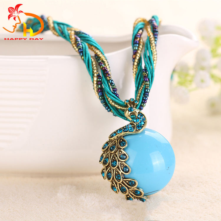 Most Popular Oem Quality Lady Jewelry Retro Pendant Peacock Bohemian Necklace