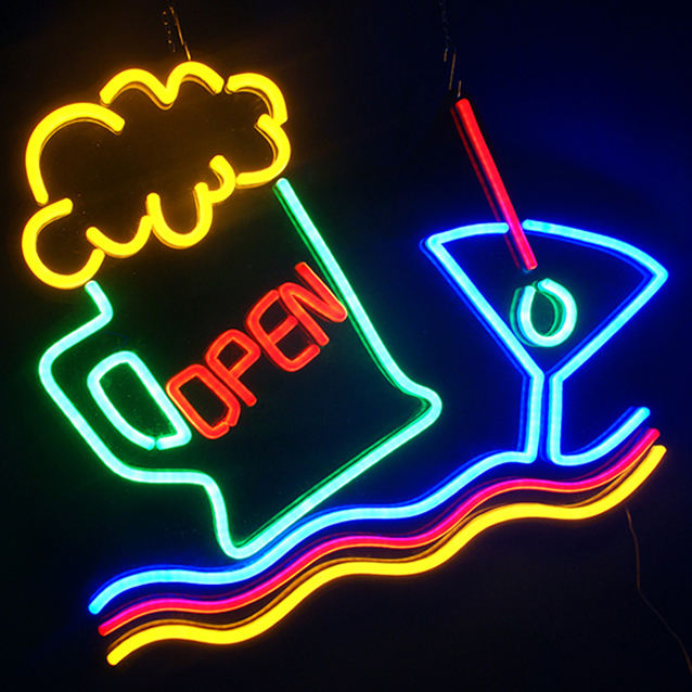 Guangzhou custom led neon sign bar advertising open neon sign