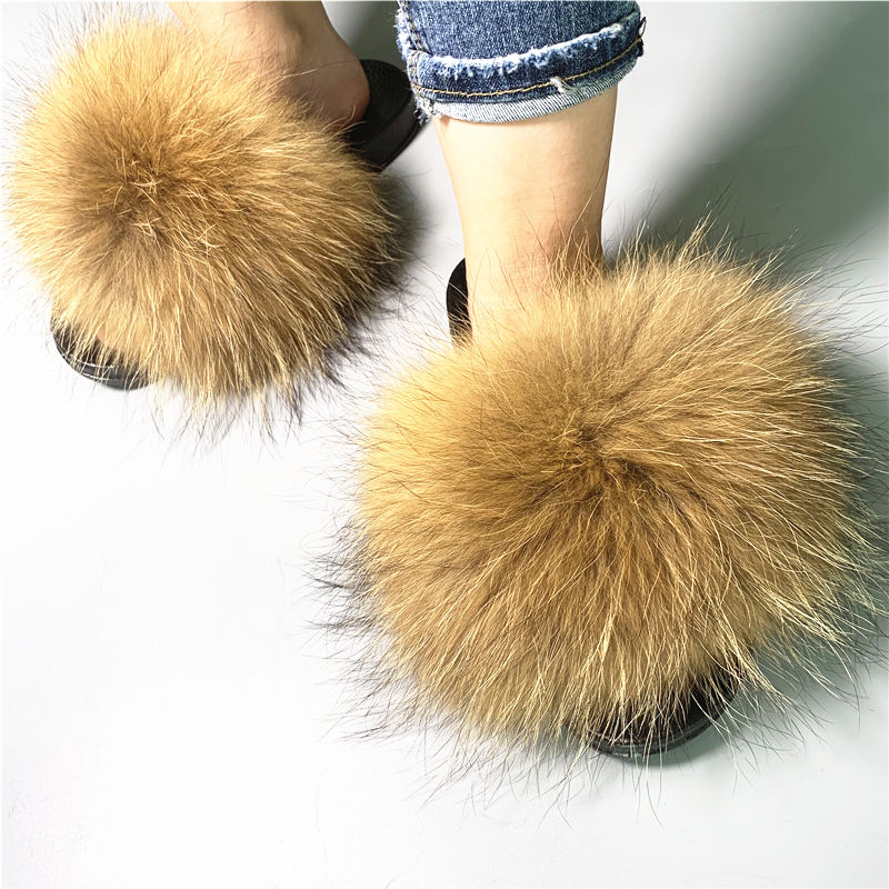 2019 Fashion Women Fur Slides Slippers /Outdoor Soft Fur Flip Flop Furry Sandals Custom Wholesale Real Fox Fur Slippers Women