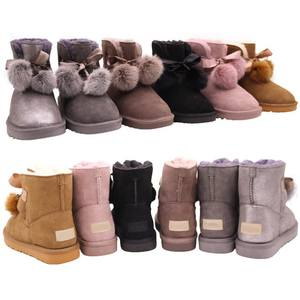 CF-191 Winter Factory Ankle Length Rabbit Fur Ball Decoration 2018 Winter Warm Ladies Snow Boots