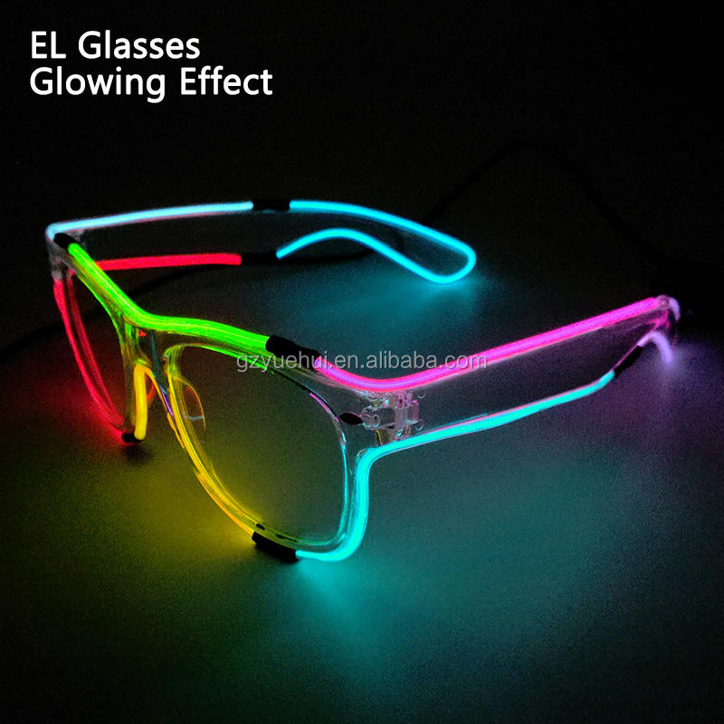 Cool Halloween Style Glasses EL wire Glasses glowing neon Festival LED Glasses DJ dance Carnival For Christmas Party Decoration