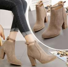 UP-0030J Women shoes 2019 autumn winter high heel suede ankle boots