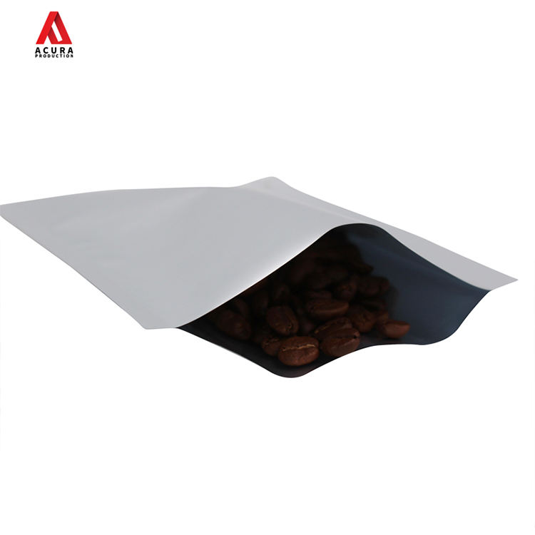 Heat - sealable poly matte finish 3 - side - seal flat pouch 2 oz 50g 60g stock with tear - notch for powder food packaging