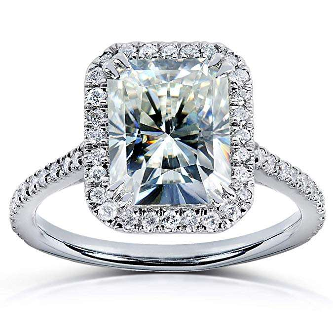 6x8mm 2carat radiant cut moissanite 18k white gold engagement ring with one halo