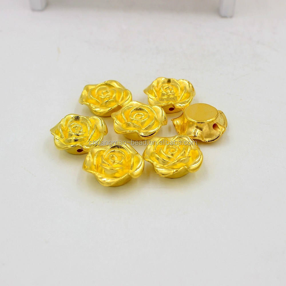 CCB beads plastic rose shaped gold plating beads