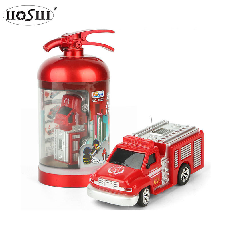 HOSHI Children RC Toy Cars 1:58 Mini Model Truck Diecast Fire Tank Truck Toy With Remote Control Water-Tank Lorry Fire Trucks