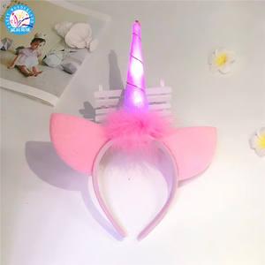 New product ideas 2019 party unicorn hairband unicorn horn ears hair accessories band Xmas birthday glitter headband