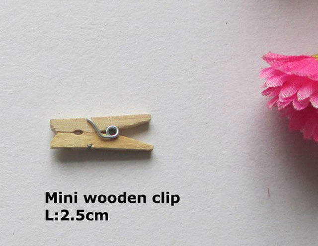 Decorativo clip de color de madera pinza mini arte broches para la ropa