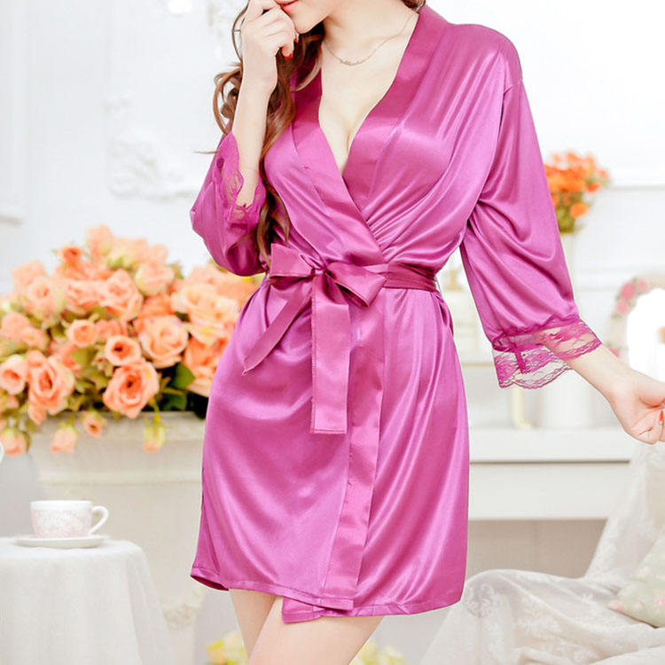 Wholesale women see through sexy lingerie silk kimono robe