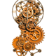 Steampunk Gear and Cog Design with a Bronze clock Ideal for Indoor or Outdoor Use