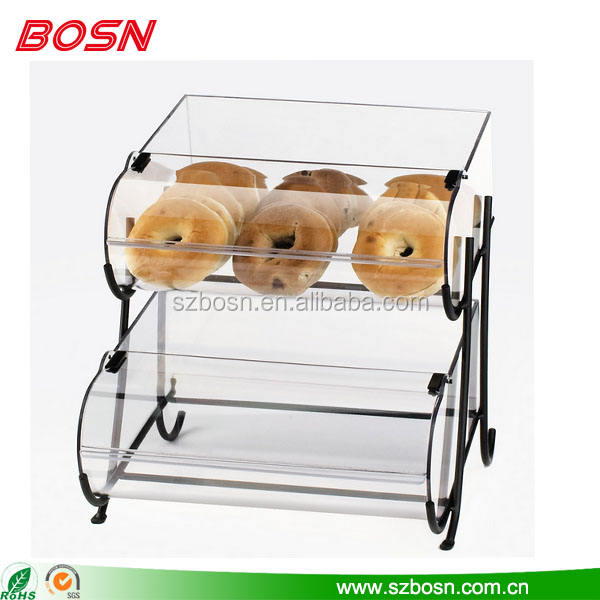 Clear tow tiers acryl brood display case rvs stand rack voor bakkerij