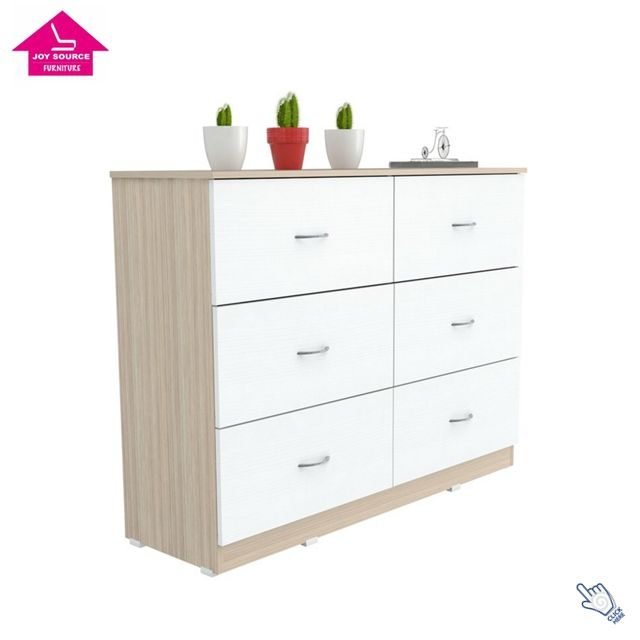 Modern Design MDF 6 Drawers High Glass Wood Chest Furniture
