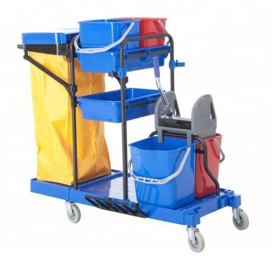 Multi-purpose 3 Shelves hotel housekeeping Plastic cleaning Janitor Cart wholesales