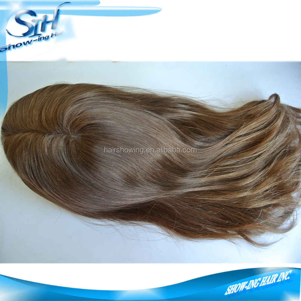 Long human hair toupee for women mono base