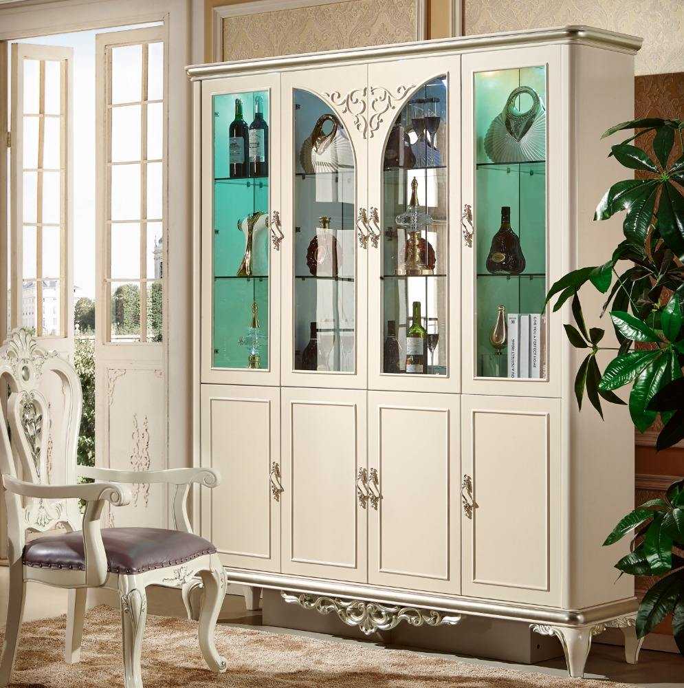 2018 new High gloss or pearl white fancy four door wine cabinet
