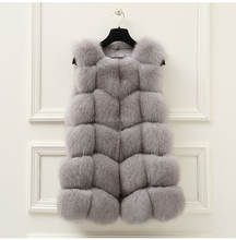 Winter Fox Fur Vest Women Elegant Grey Real Fox Fur Gilet