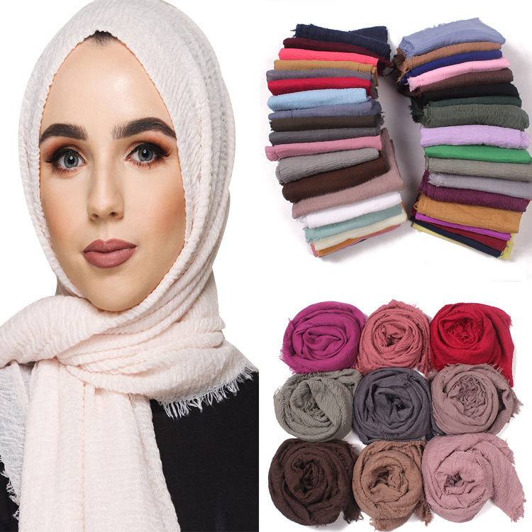 Latest Design Cotton Scarf Wrinkle Hijab Scarf With Tassel Women Viscose Scarf