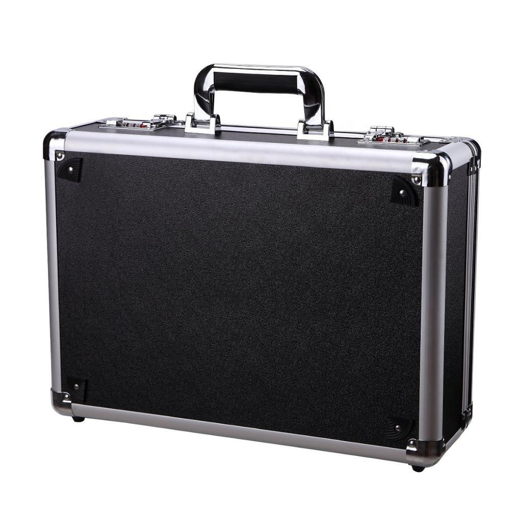 Large Aluminum Sliver Tool Carrying Box Heavy Duty Aluminum Storage Brief Case