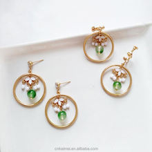 2018 Spring new cute ear clip creative forest emerald green flower earrings for girls