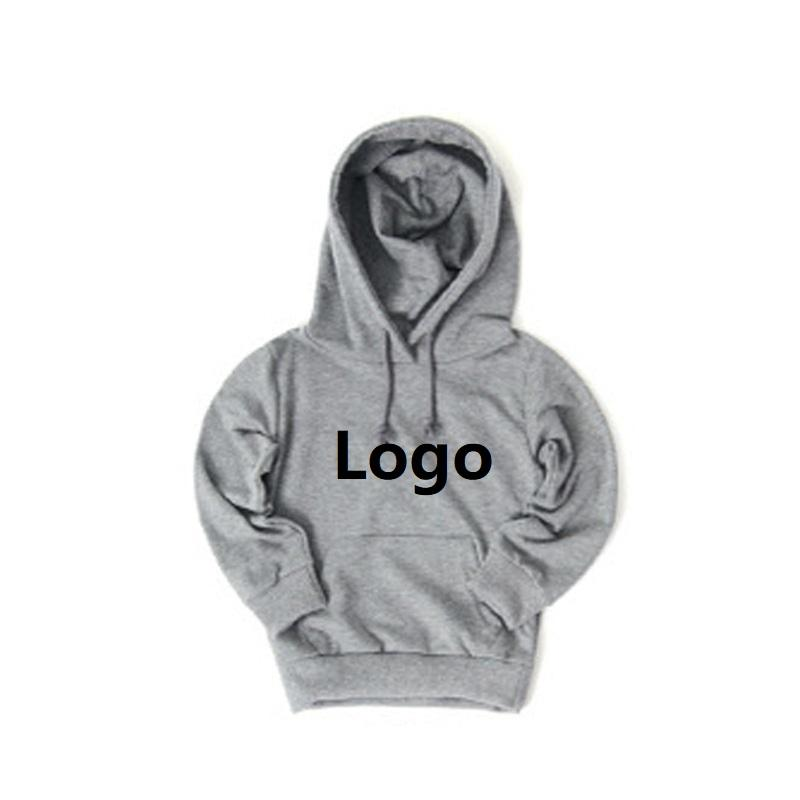 Customized logo design fleece children plain new kids printed pullover wholesale hoodies