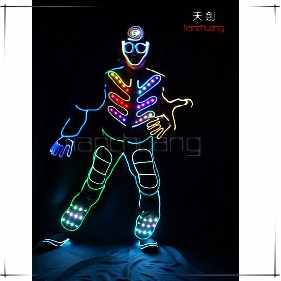 led dmx 512 programmable led light suit for tron dance costume