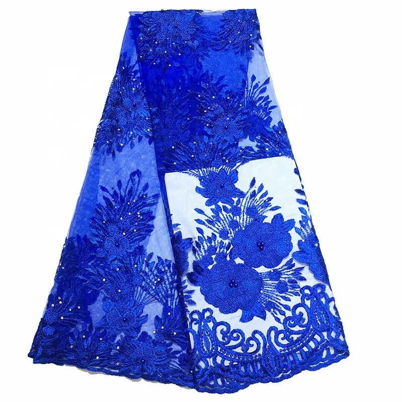 ghana bestway mesh african embroidered royal blue lace fabric