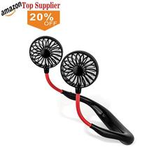 amazon best sellers USB Rechargeable Hands free 360 Degree Rotating Mini Foldable Lazy Hanging Neck Band Portable Fan for Outdo