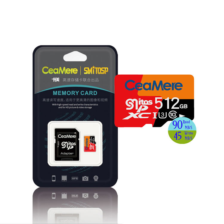 Ceamere Wholesale Fast Speed MicroSDXC TF Card 512GB w Adapter Class 10 UHS-3 Full Capacity Micros SD Card 512GB
