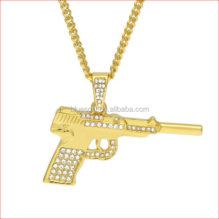 European style Rhinestone gold plated gun pendant necklace