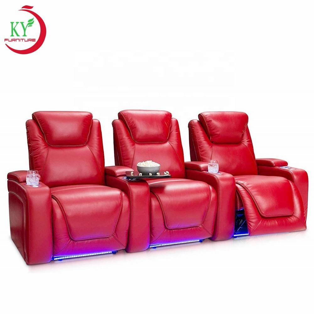 JKY Furniture Faux Technology Leather Power Electric Home Recliner Movie Theater Sofa With USB Charge