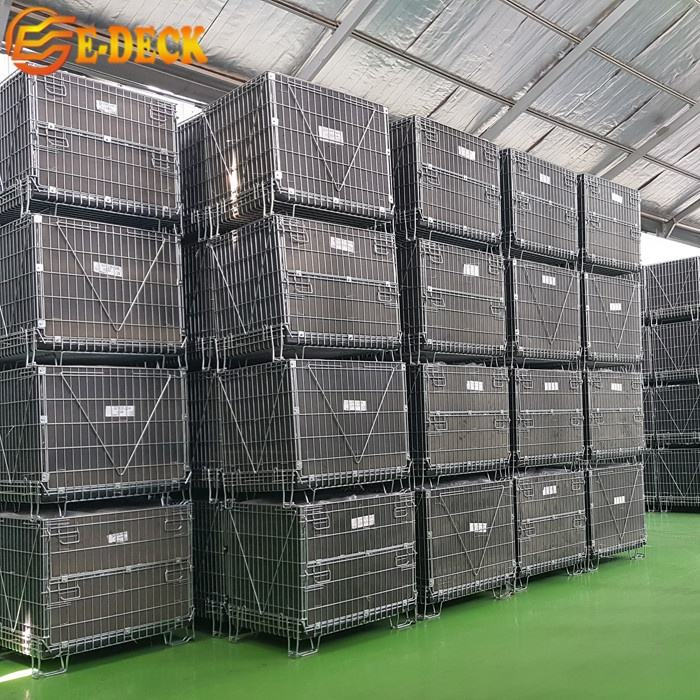 Stackable Lockable Storage Cage Collapsible Industrial High Quality Rigid Wire Mesh Container Cages for Pet Preform