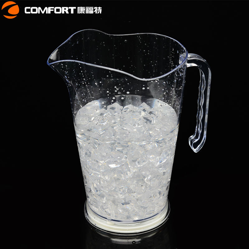 1.5l clear acrylic cooling wine beer plastic water bottle led pitcher with lid