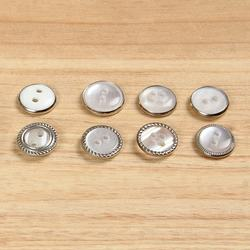 two hole or four hole round resin flatback button with silver metal rim
