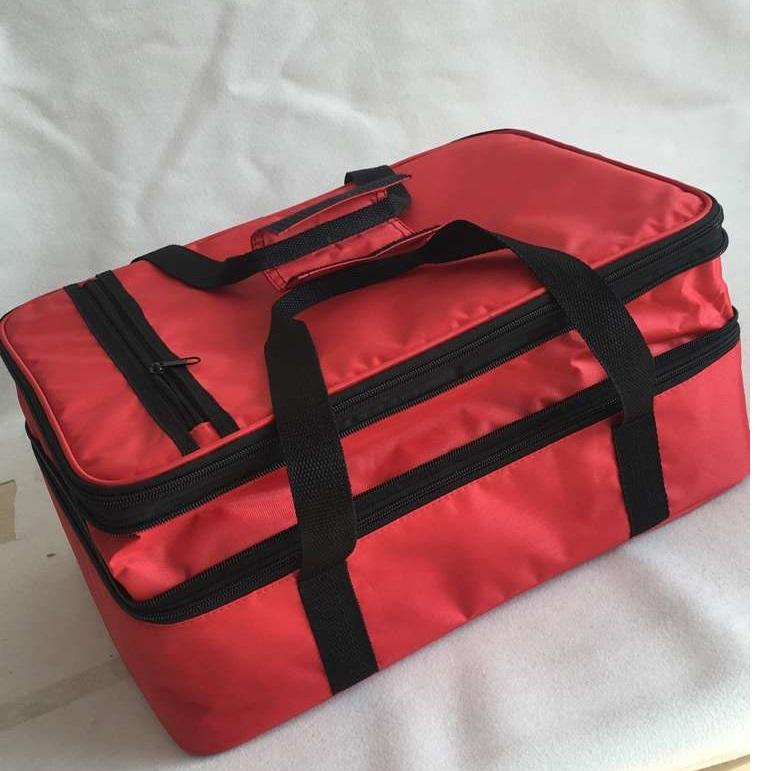 Custom Promotional Logo Imprint Polyester Insulated Two Compartment Lunch Cooler For Picnic