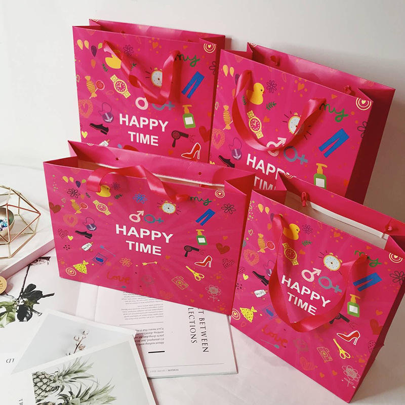Custom Design Happytime Cheap Paper Bag Fancy Printed Paper Gift Bag With Logo