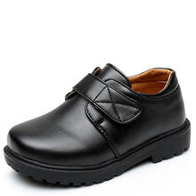 Kids genuine leather school children shoes fashion boys school shoes black
