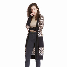 Hot Sale Women Stylish High Street Leopard Print Vintage Open Front Long Cardigan Outfit Long Sleeve Casual Knit Tops Blouse